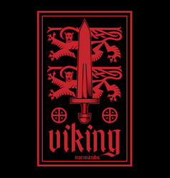 Viking design heraldic lions with sword vector