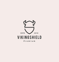 viking shield logo hipster retro vintage label vector image