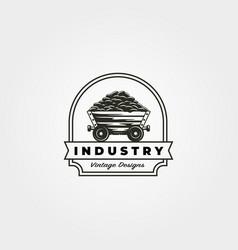 vintage coal mining cart logo symbol design vector image