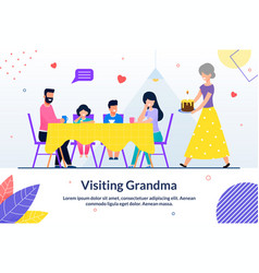 Visiting grandma and sweet moment motivate poster vector