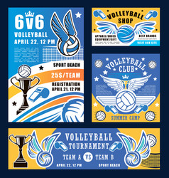 Volleyball sport game trophy cup and equipment vector