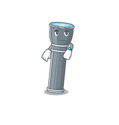 Waiting gesture flashlight scroll on cartoon vector
