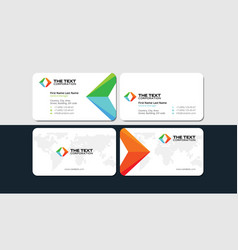 white business card with colored arrows vector image