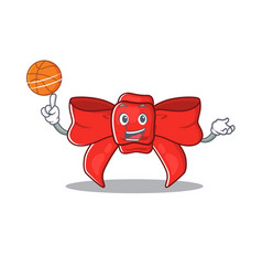 With basketball red ribbon bow on cartoon vector