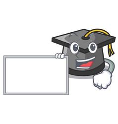 with board graduation hat character cartoon vector image