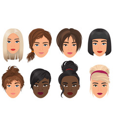 woman female avatar set vector image