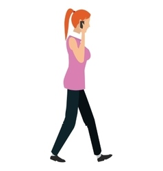 Woman on the cellphone and waliking icon vector