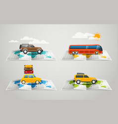 World map with different vehicle infographic vector image