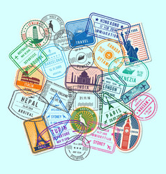world post stamp marks vector image