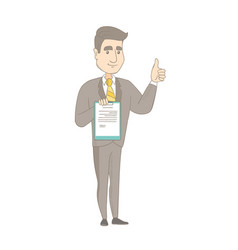 Young businessman showing clipboard and thumb up vector