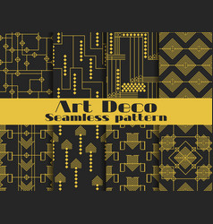 art deco seamless pattern set retro backgrounds vector image vector image