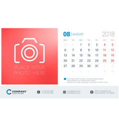 august 2018 desk calendar design template with vector image