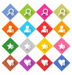 Flat addition icon rhombus web button vector image