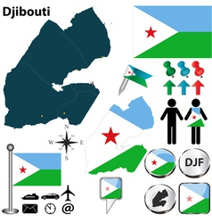 Djibouti map vector image