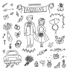 groom wedding doodle vector image vector image
