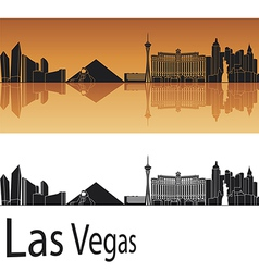 Las Vegas skyline in orange background vector image vector image