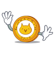 waving monacoin character cartoon style vector image
