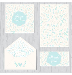 wedding set of cards and envelope vector image