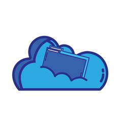 cloud data with digital folder file vector image vector image