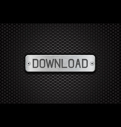 download metal button plate on metal perforated vector image vector image