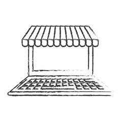 Figure technology laptop to business information vector