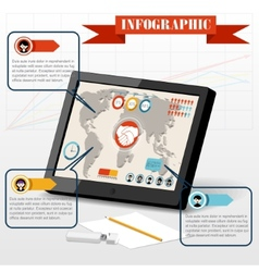 Isometric business social infographics people PC vector image