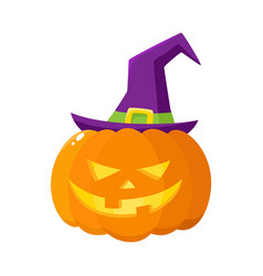 jack o lantern pumpkin in pointed witch hat vector image vector image
