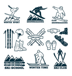 labels set for club of skier silhouette of ski vector image vector image