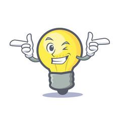 Wink light bulb character cartoon vector