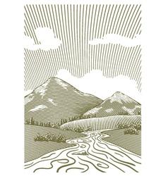 Woodcut Mountain Stream vector image vector image
