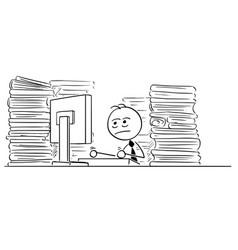 cartoon of unhappy tired clerk businessman office vector image