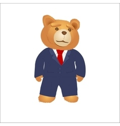 Cartoon teddy bear in a suit and tie vector image