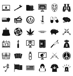 criminal spam icons set simple style vector image