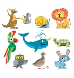 Cute animals set in cartoon style vector image vector image