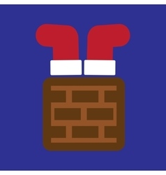 Flat icon on blue background santa in chimney vector