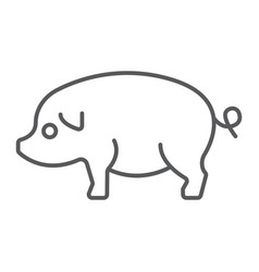pig thin line icon farming and agriculture pork vector image