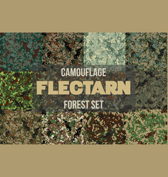 set of forest flectarn camouflage seamless pattern vector image vector image