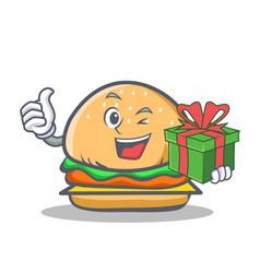 wink burger character fast food with gift vector image vector image