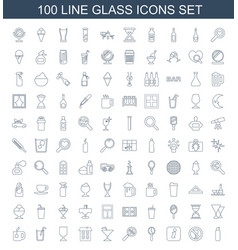 100 glass icons vector