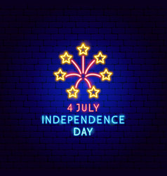 4 july independence day neon label vector image