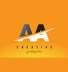 Aa a letter modern logo design with yellow vector