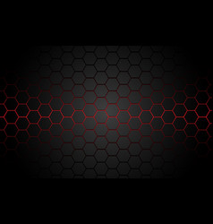 Abstract red light hexagon line in grey modern vector