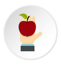Apple in hand icon circle vector