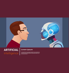 artificial intelligence man with modern robot vector image
