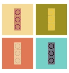 assembly flat icons condom contraceptive vector image
