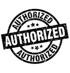 Authorized round grunge black stamp vector