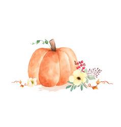 Autumn watercolor with orange pumpkins vector