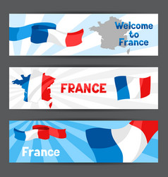 banners with map and flag of france vector image