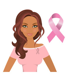 beautiful woman wearing pink ribbons to promote vector image