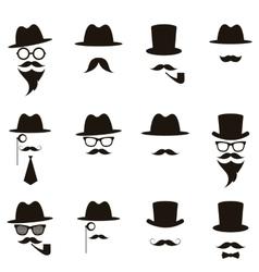 Black gentleman portrait icon set vector image